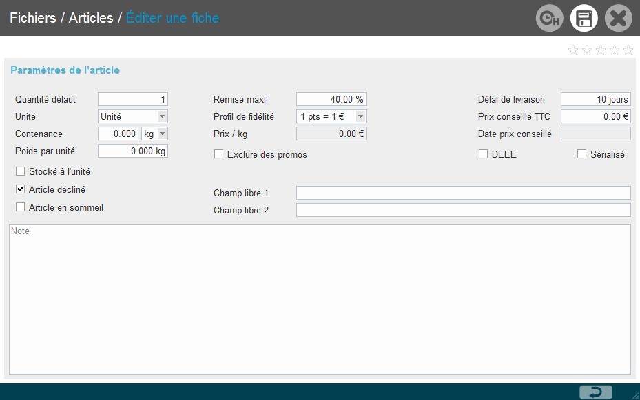 interface Lineostore fiche article