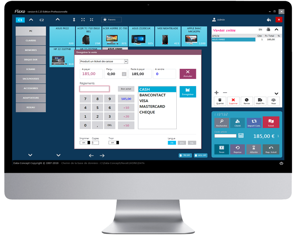 Ecran interface caisse flexo